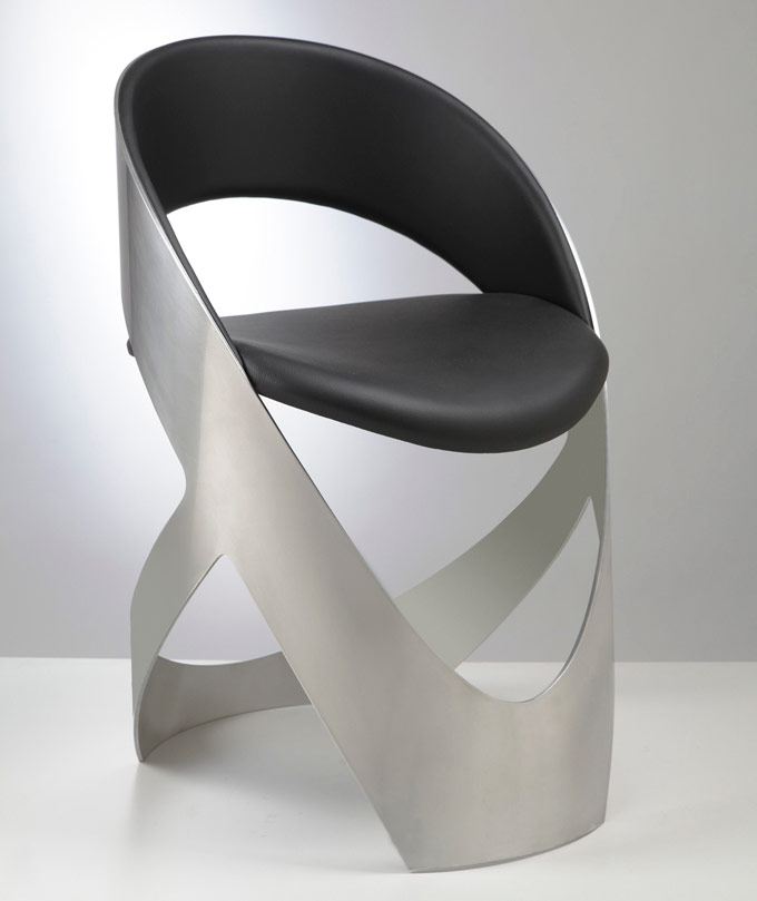 aluminum chair with black leather upholstery