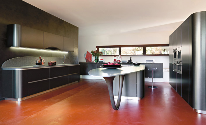 black and orange modular kitchen