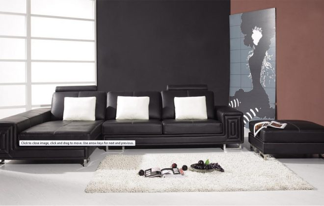 modern 2 piece black leather couch with ottoman