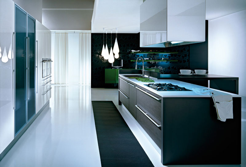 modular kitchen with eco wood cabinets and black lacquer