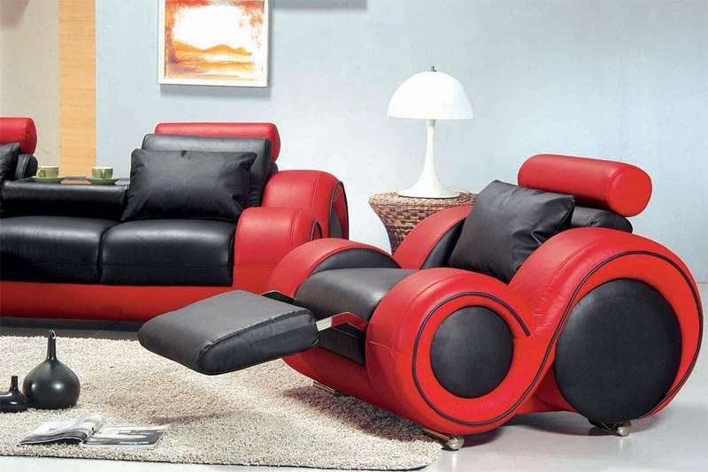 modern black and red leather chair and couch set