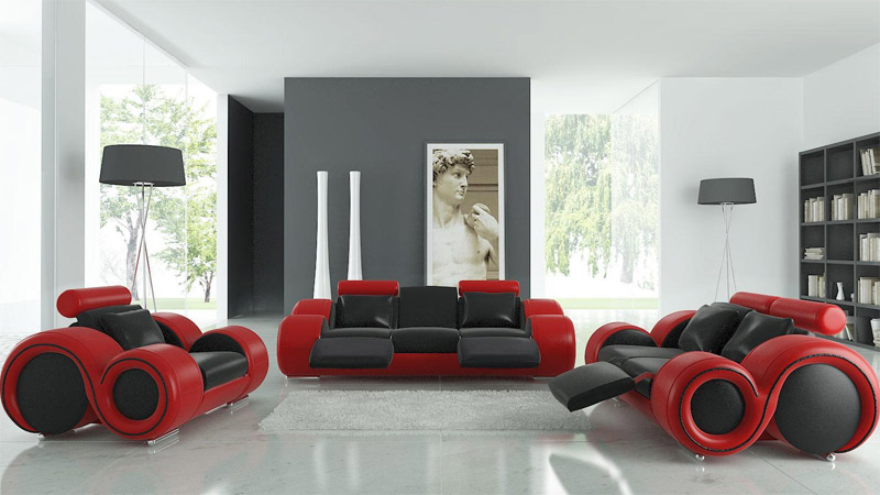 modern leather couch set
