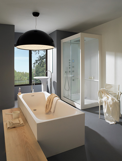 bright bathroom with large window