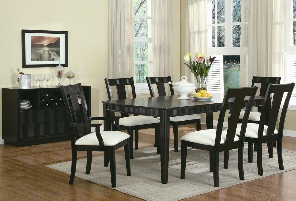 chocolate birch veneer contemporary dining room set