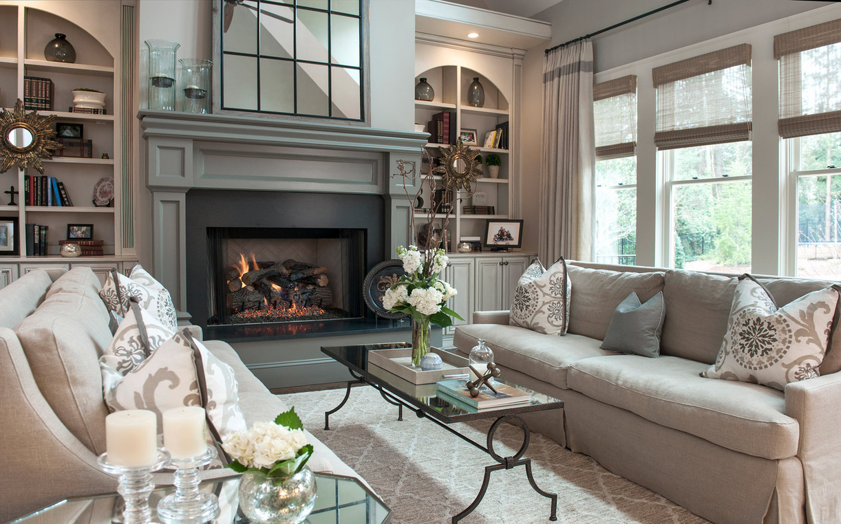 classic warm white gray living room