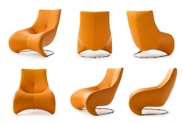 modern leather lounger chair