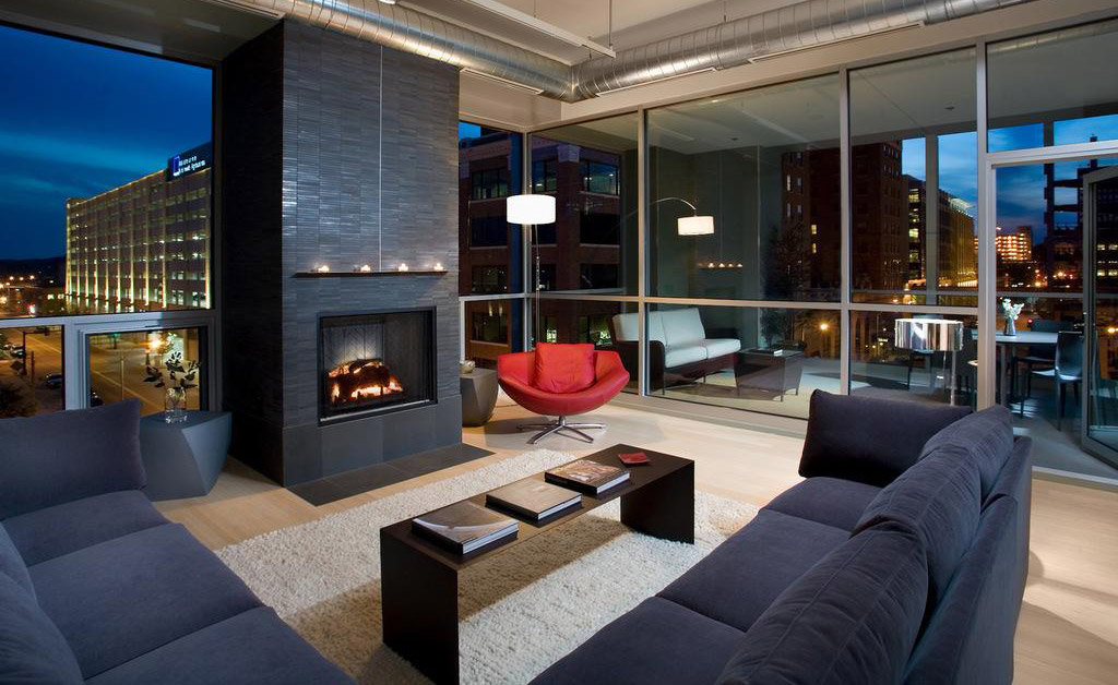 Cozy condo at night by the fireplace