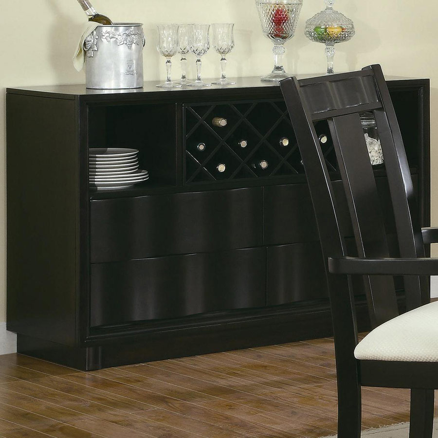 contemporary serving table with wine rack