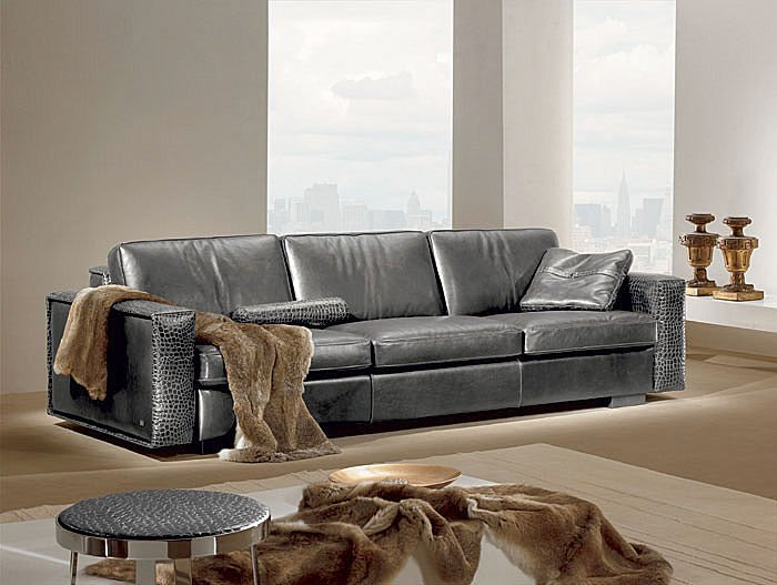 gray modern and contemporary leather sofa