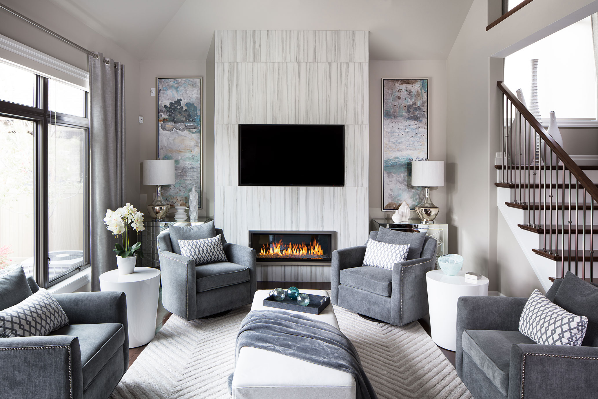 clean stylish white living room gray-blue accent