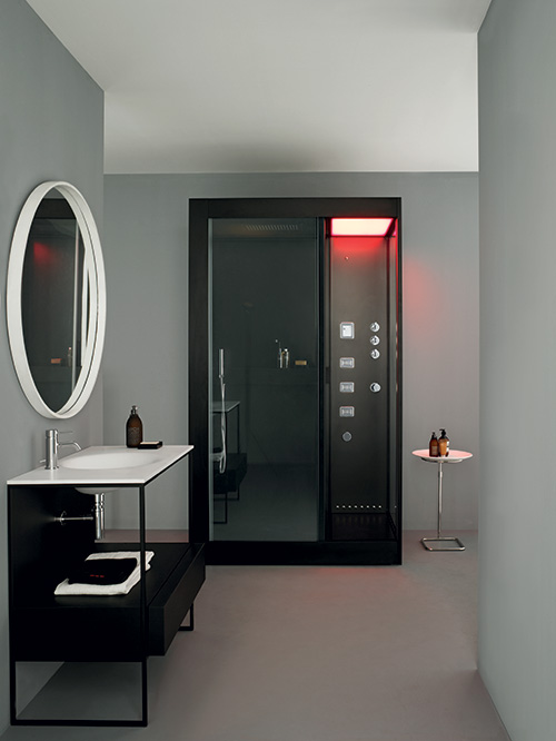 cozy corner shower with color lighting