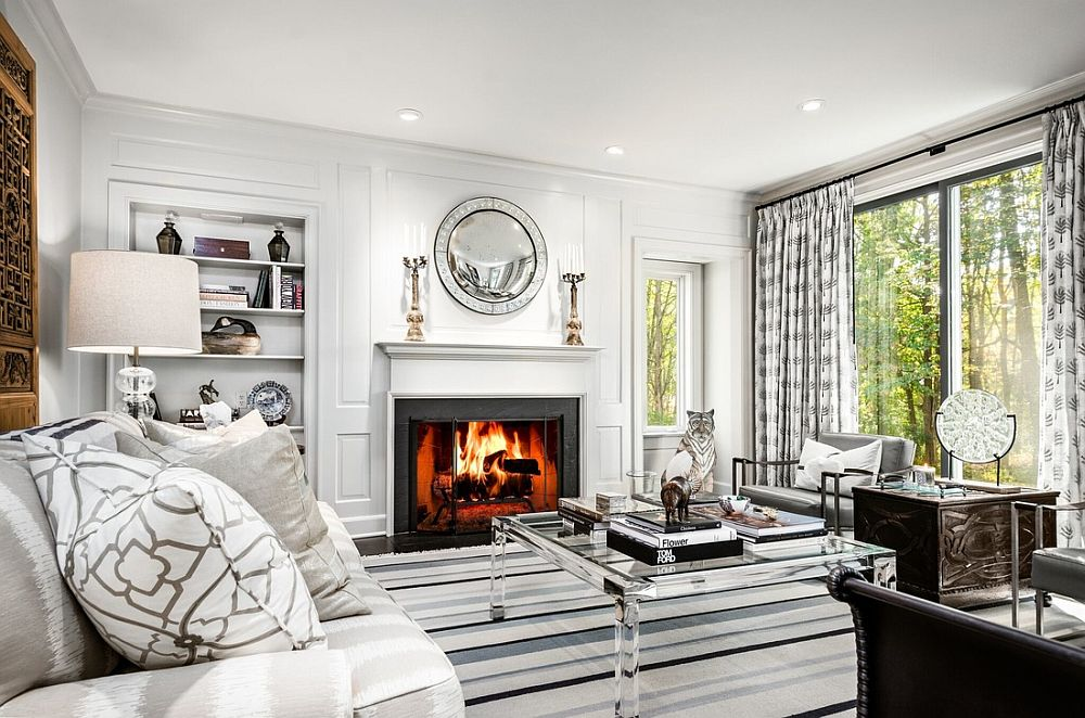 classic white living room monochrome accents