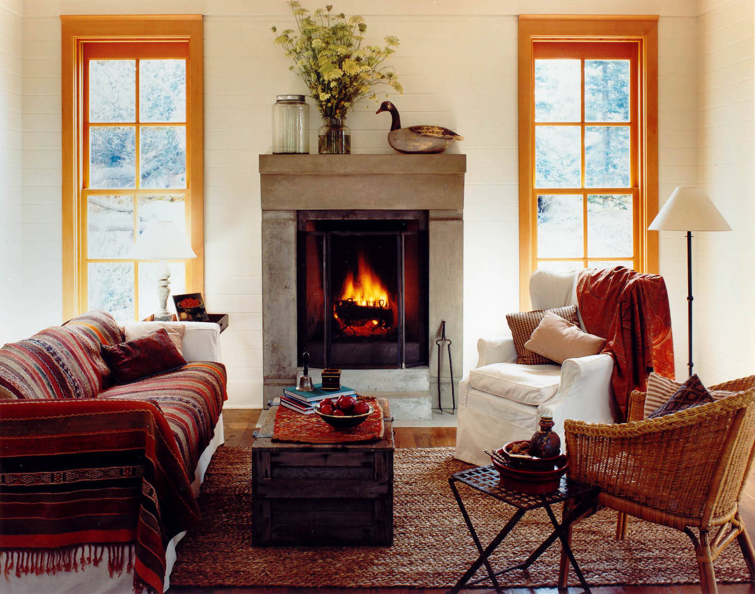 small warm living room with fireplace