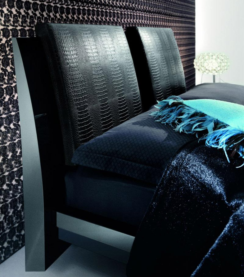 modern bed wiuth leather headboard