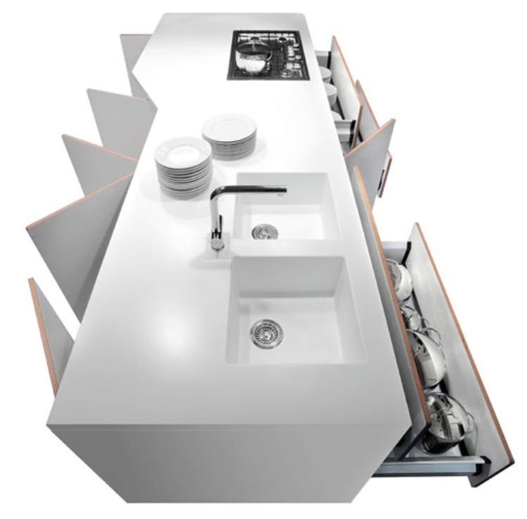 white kitchen island with double sink