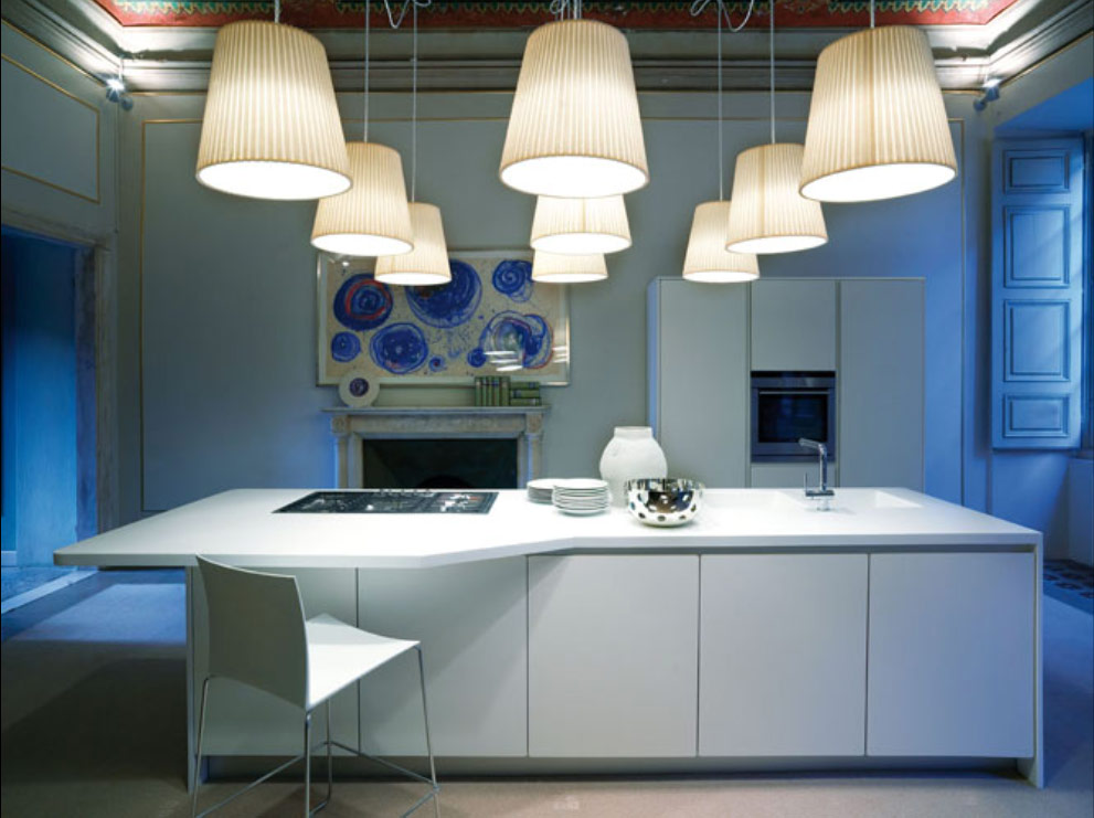 kitchen island and lights