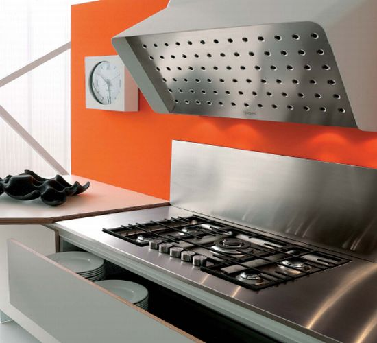 stainless steel stove and backsplash