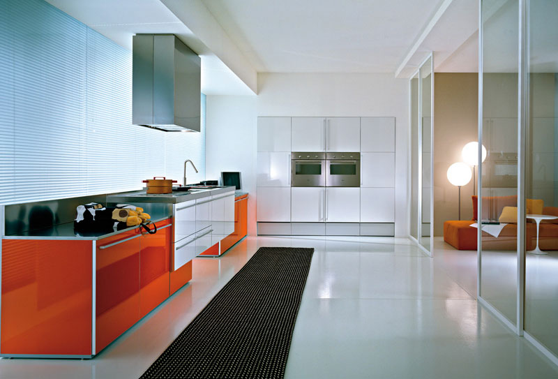 orange and white modern kitchen
