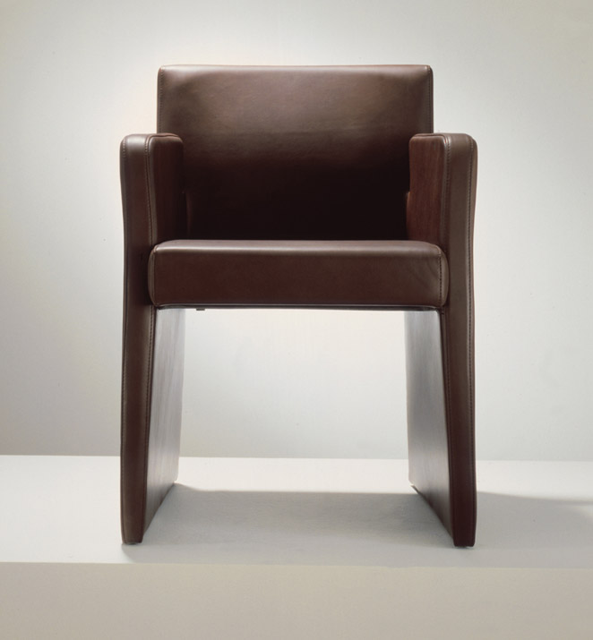 brown stiched leather dining room chair
