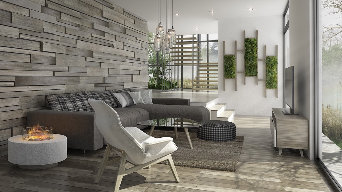 gray hardwood wall floor