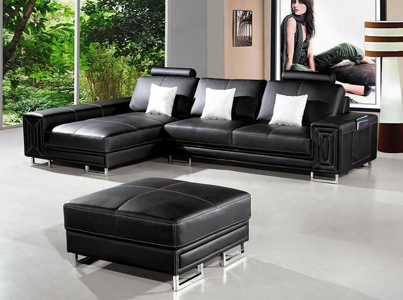 modern black leather sofa with ottoman