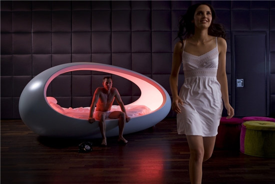 modern bed with inner light
