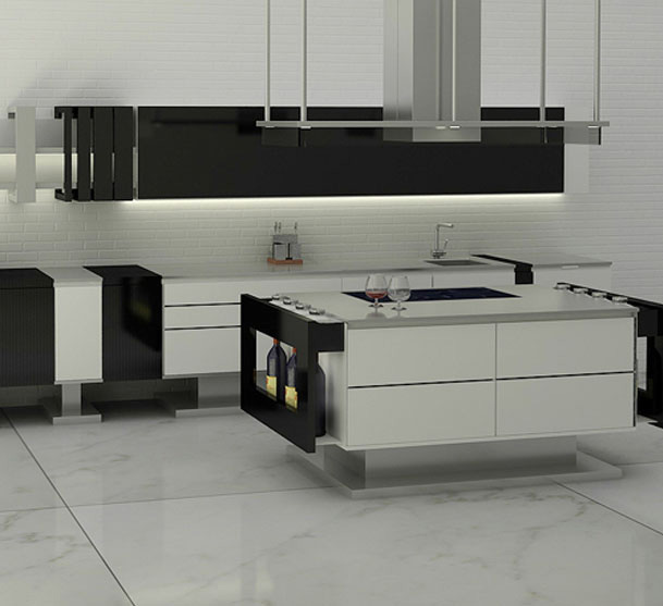 modern black lacquer kitchen with stainless steel island
