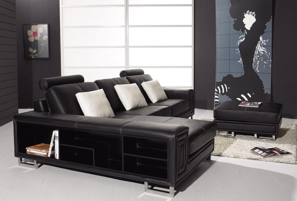 modern black leather couch with shelves
