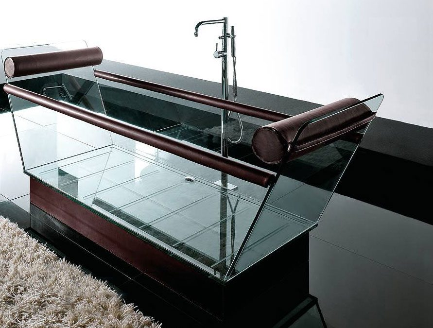 japanes inspired modern glass bathtub