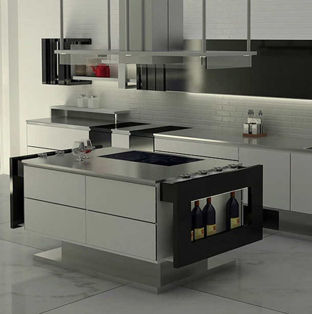 modern stainless steel kitchen with black lacquer