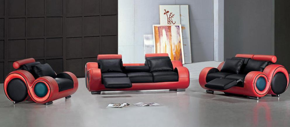 black and red modern bonded leather couch set