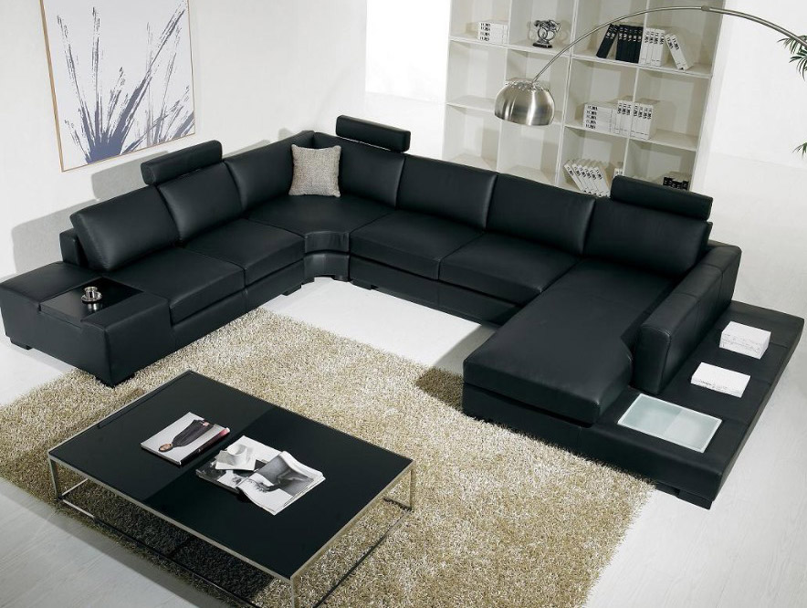 black leather modern sectiona sofa and living room set