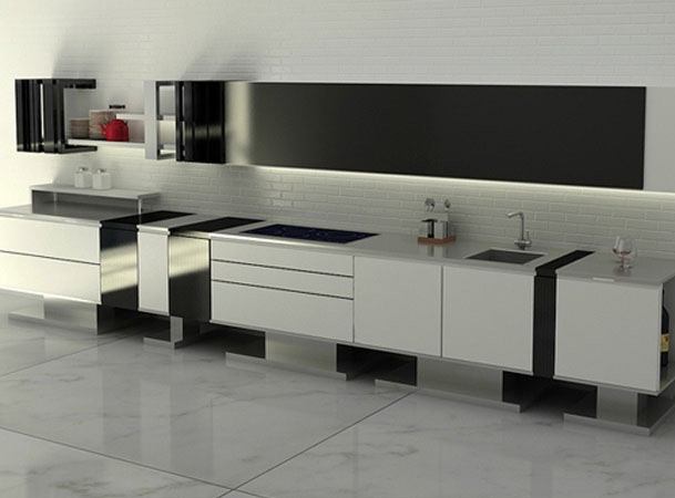 white modern minmalist kitchen against brick wall