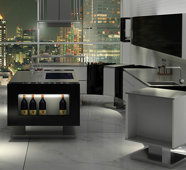 modern kitchen with wine rack