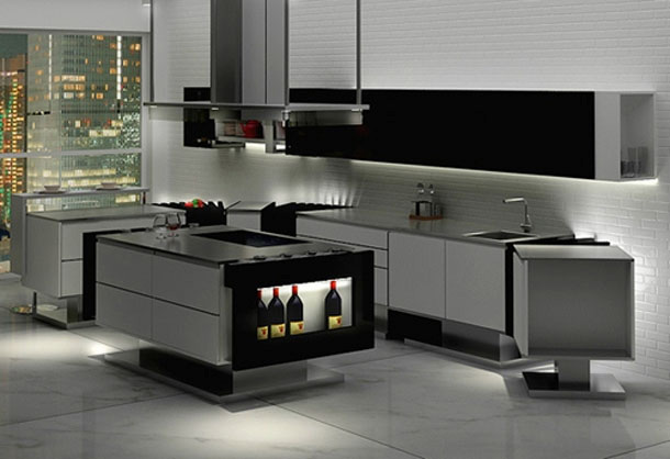 modern minimalist kitchen with stainless steel countertop