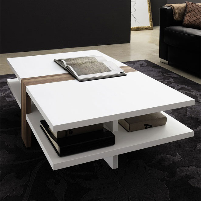 modern white wood coffeee table with beach accent