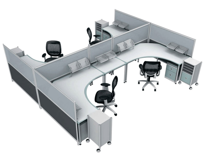 well spaced modular office furniture