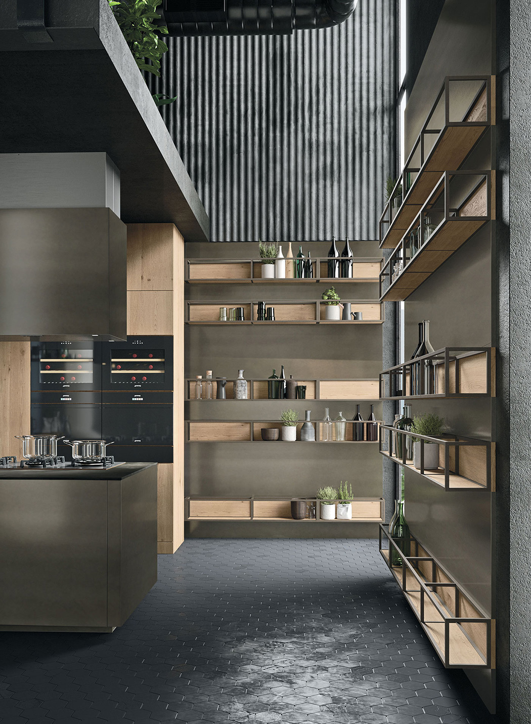 modern kitchen shelves