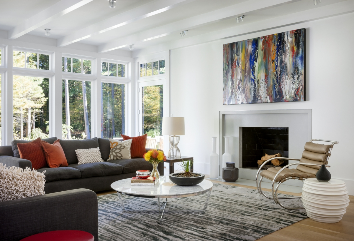 bright artsy living room