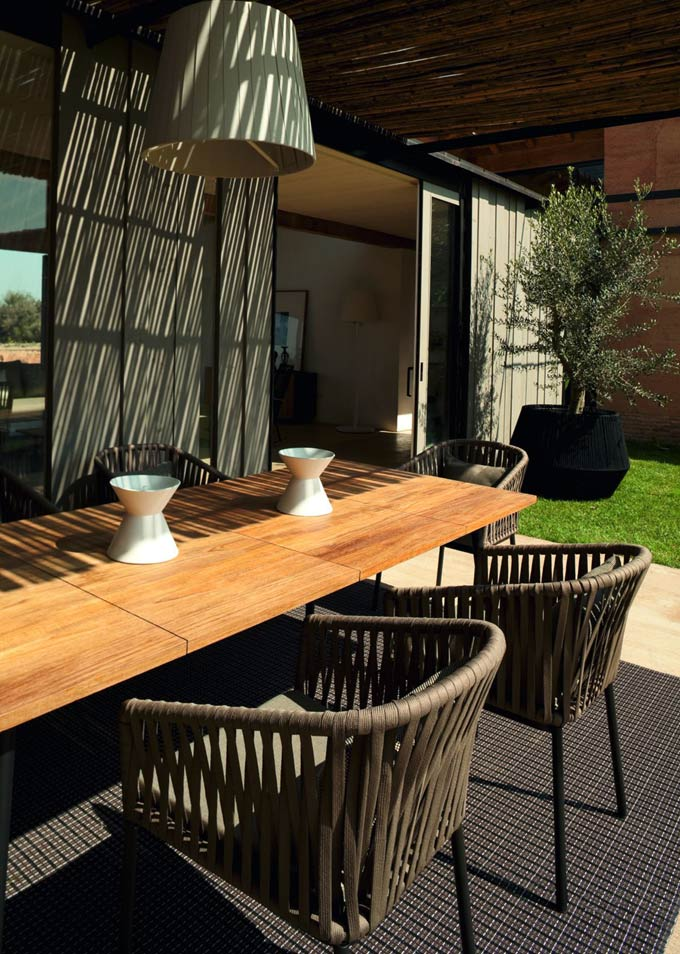 patio furniture with wood table top
