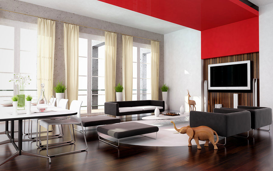modern living space with red accent