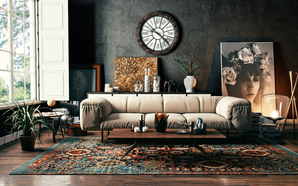 Earthy retro ambiance living room