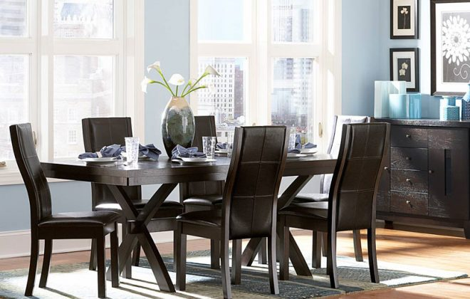modern rustic oak dining room set with espreso finish