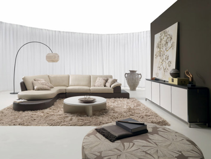 living room picture with leather sectional sofa
