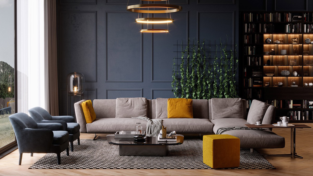 Living room with sophisticated atmosphere