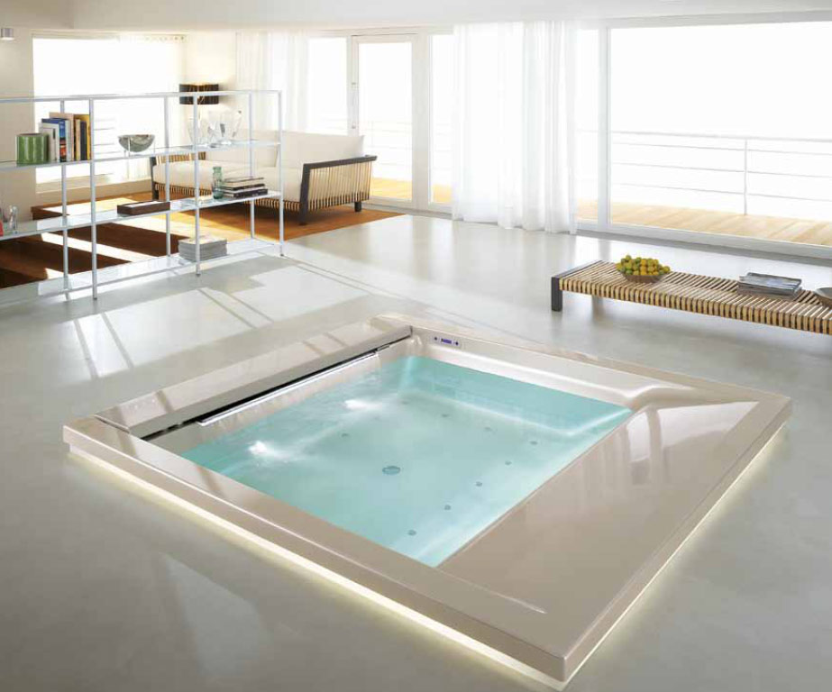 luxurious bathtub and whirlpool