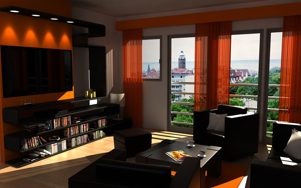 Modern condo with orange accents