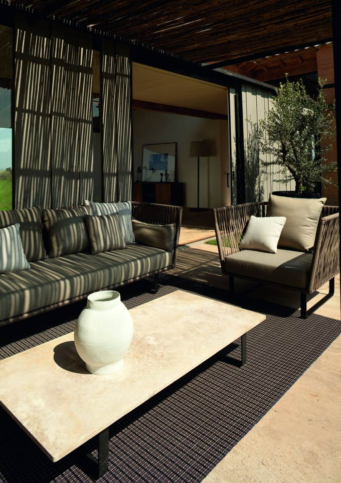 patio furniture with stone table top