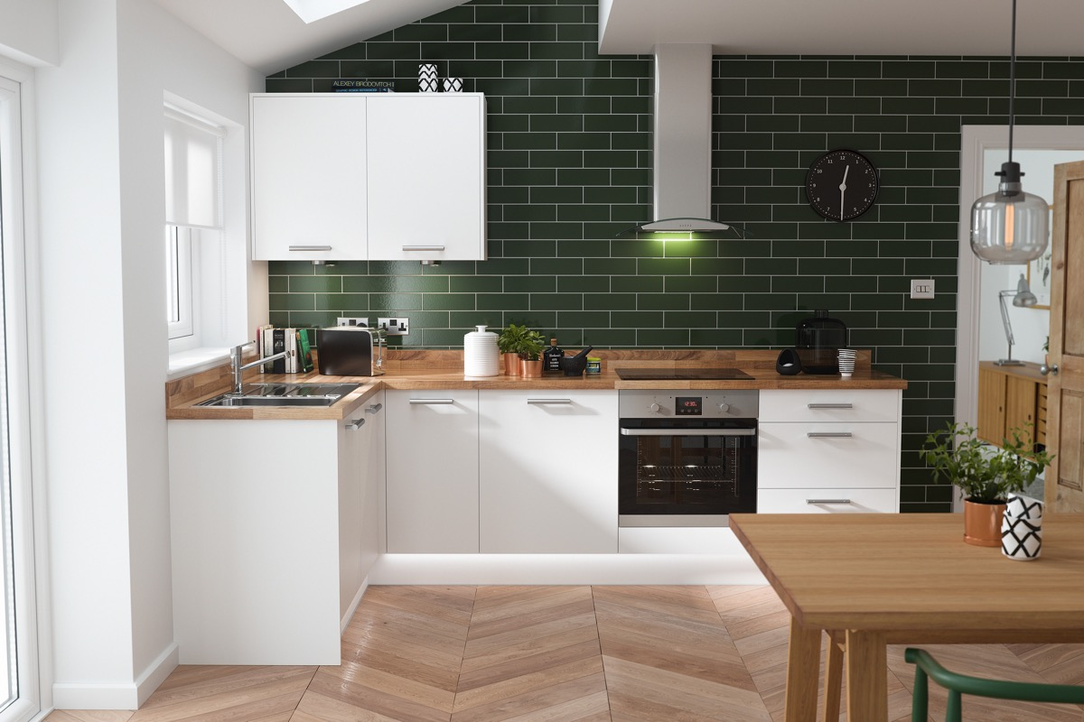 white green kitchen natural wood countertop