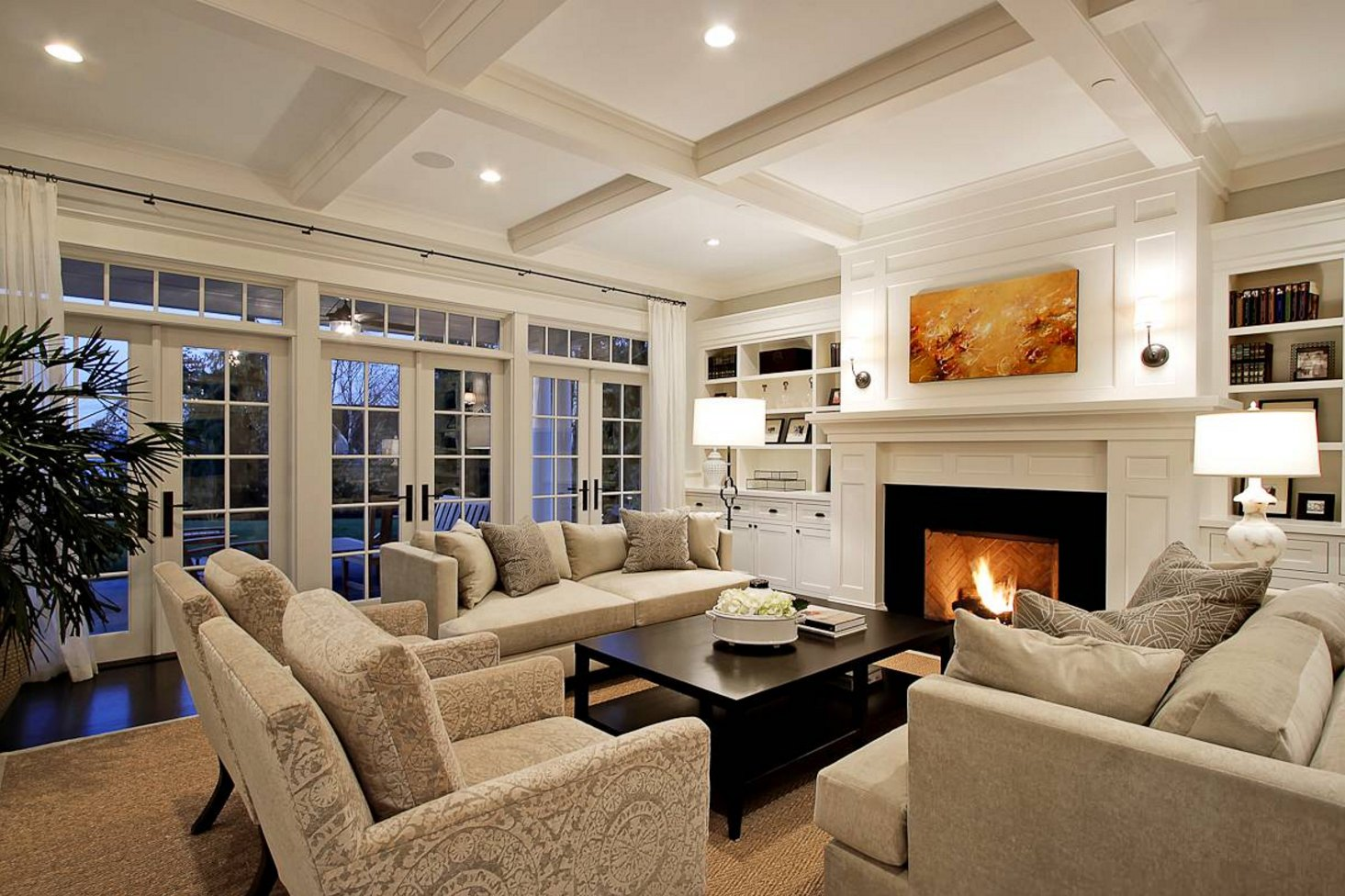 warm classic living room tile ceiling